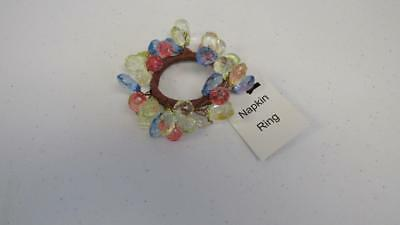 Spring Easter Sparkle Napkin Ring Rings Fauceted Beads Pink Blue Yellow NEW