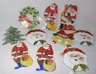 Christmas Ornaments Plastic Stained Glass Wreath Carolers Tree Santa Bell x 10