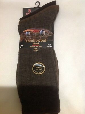 3 Pairs Mens Aler Lambswool Blend Socks Mixed Colours Size 6-11 *FREEPOST*