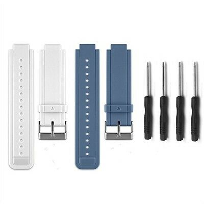 (02-White&Slate) - HWHMH Replacement Silicone Bands With Pin Removal Tools for