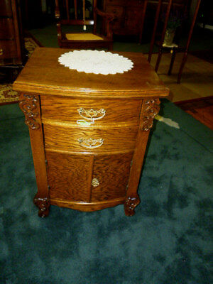 Antique Oak nightstand ornate carvings cast brass pulls 1900's  end table