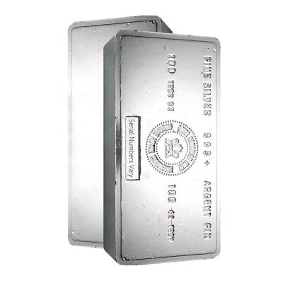 100 oz Royal Canadian Mint (RCM) .999+ Fine Silver Vintage Bar