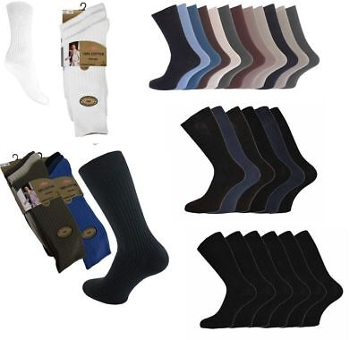 3, 6, 12 Pairs Men's Aler 100% Cotton Luxury Plain Gold Ribbed Socks