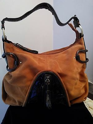 Genuine Cromia Handbag Leather And Patent Brown Made In Italy