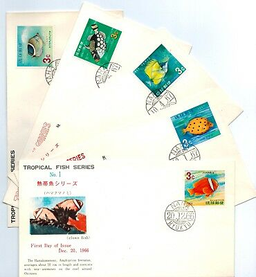 Ryukyu 1967 SC 151 -155 Tropical Fish Coral Reef FDC Cover complete set VF