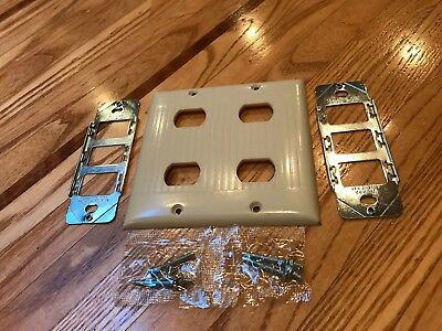 Vintage Sierra Ul 2 Gang 4 Switch Plate Cover, Despard Ribbed Ivory Deco / New!