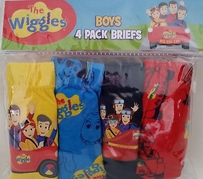THE WIGGLES Licensed Boy 4x briefs undies jocks cotton NEW sizes 1-2 , 2-3 , 3-4
