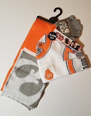 BB-8 STAR WARS Boys Knit Winter Beanie Hat Gloves & Scarf Set Ages 4-12 NWT FAST