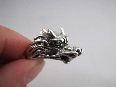 China old Tibetan silver hand made Chinese Zodiac dragon statue finger ring