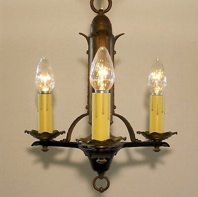 Antique Arts Crafts Spanish Gothic Brass Cast Iron Chandelier Ceiling Fixture
