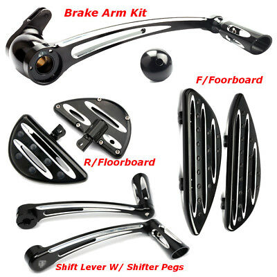 For Harley Touring Front Rear Floorboard Toe Shift Lever W/ Brake Pedal Pegs