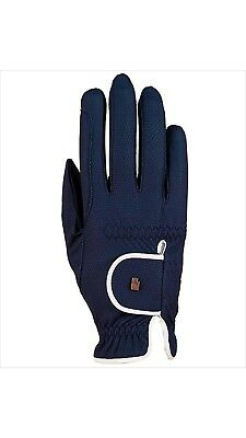 (7, navy-white) - Roeckl - ladies contrast riding gloves LONA. Delivery is Free