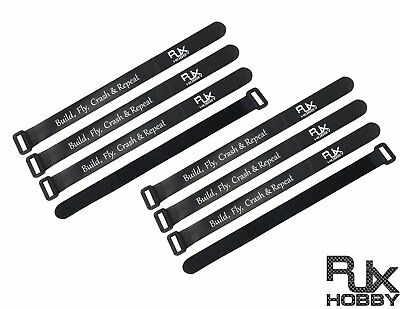 RJXHOBBY 15mmX200mm Non-Slip Silicone Battery Straps - 8 PACK Black