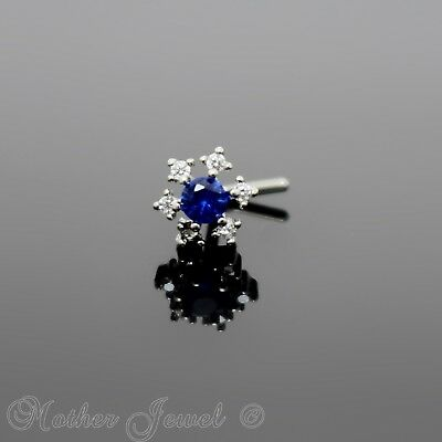 Jewelry & Watches 14k White Gold Ip Clear Cz Blue Centre Flower L Shape Bent Nose Piercing Stud Moderate Cost