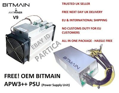 Brand New Antminer V9 4TH Bitcoin Miner with APW3+ PSU included