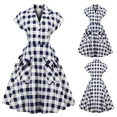 Womens ROCKABILLY Vintage 1950s Check Pockets Housewife Retro Swing Party Dress