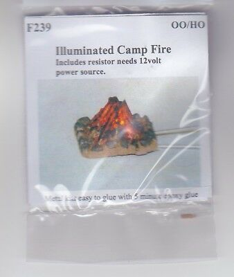 Illuminated Camp Fire -12v + resistor - OO / HO Model Trains or Diorama UK Made