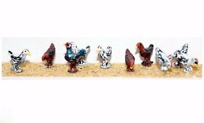 Chickens 6 assorted plus 1 Rooster PAINTED OO / HO Model Trains or Diorama F142P