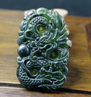 Chinese Natural jade hand engraving dragon amulet lucky pendant
