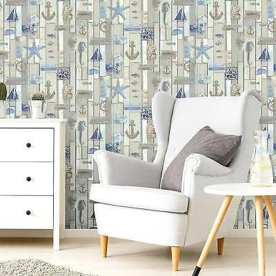 Seaside & Beach Theme Wallpaper Fish Boat Wooden Effect Anchor Embossed ...
