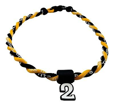 (Yellow Black) - Pick Your Number - Twisted Titanium Sports Tornado Necklace