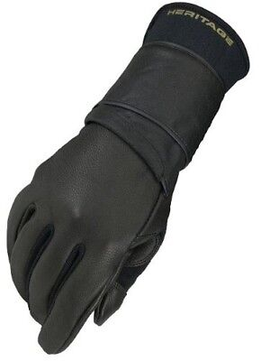 (9, Right Hand) - Heritage Pro 8.0 Bull Riding Glove (Black). Heritage Gloves