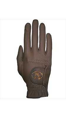 (8, mocca) - Roeckl - ladies crystal riding gloves LISBOA. Brand New