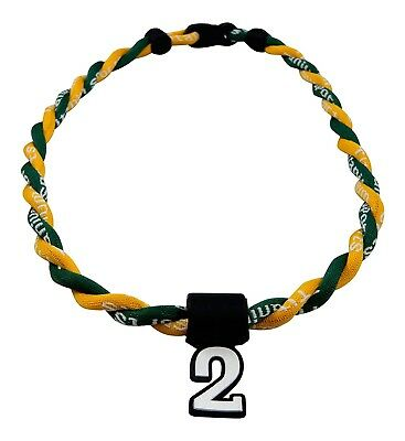 (Green Yellow) - Pick Your Number - Twisted Titanium Sports Tornado Necklace