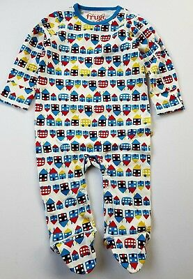 Ex-Frugi Happy Houses Organic Cotton Baby Babygrow Sleepsuit Bnwot