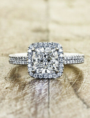 Certified 2.55ct White Cushion Diamond Engagement Wedding Ring in 14k White Gold