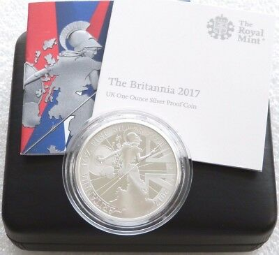 2017 Royal Mint Britannia £2 Two Pound Silver Proof 1oz Coin Box Coa