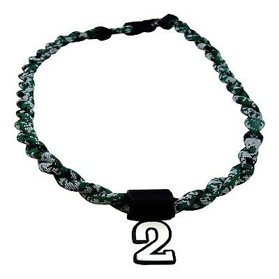 (Green Digi Camo) - Pick Your Number - Twisted Titanium Sports Tornado Necklace