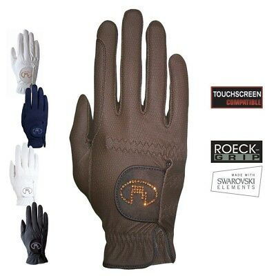 (7.5, Navy) - Roeckl - ladies crystal riding gloves LISBOA. Shipping Included