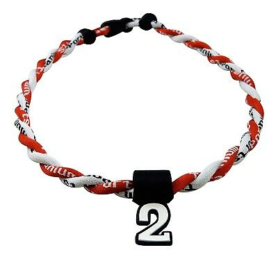 (Red White) - Pick Your Number - Twisted Titanium Sports Tornado Necklace