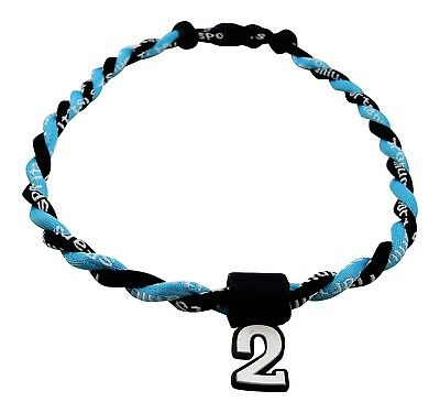 (Light Blue Black) - Pick Your Number - Twisted Titanium Sports Tornado Necklace