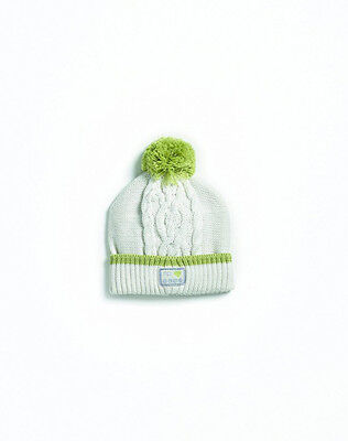 Natures Purest Pom Pom Organic Cotton Hat With Green Trim (0175)