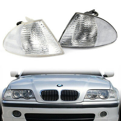 4 DR Sedan Signal Parking Corner Lights YD Chrome Clear FOR 1998-2001 BMW E46