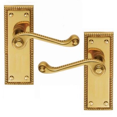 GEORGIAN BRASS DOOR HANDLES LEVER LATCH ROPED EDGE with fittings D23