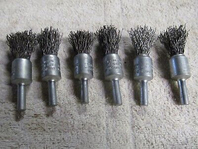 """(6) MKE Wire End Brushes, 5/8"""" Diameter, 1/4"""" Shank, 20,000 RPM, MADE IN USA"""