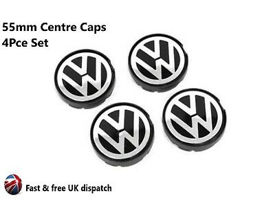4 x VW 55mm Alloy Wheel Centre Caps -  Golf Jetta Passat Beetle. 6N0 601 171