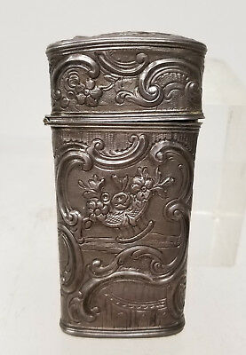 Antique Sterling Silver Repousse Rococo Style Sewing Etui Kit Case No Tools
