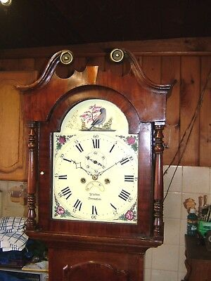 A Georgian Oak and Mahogany Antique Cottage Longcase Grandfather Clock C1800