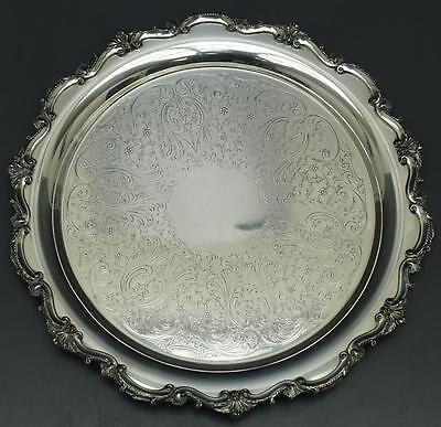 Bristol Silverplate by Poole Round Footed Serving Tray Platter EPCA 77