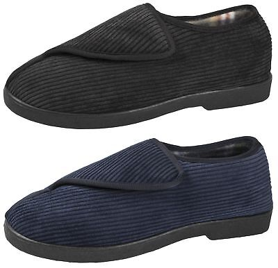 Mens Comfort Slippers Corduroy Soft Heel Easy Touch Adjustable Indoor Shoes Size