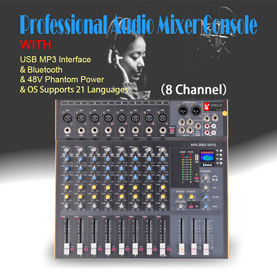 8 Channel  Professional Stereo Mixer Audio Mixing Console Sound Console Desk