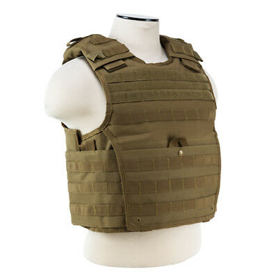 NcStar Tan Expert Heavy Duty Plate Carrier Vest with Durable PVC Construction