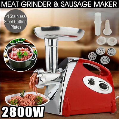 Electric Meat Grinder Mincer Sausage Stuffer Luxury Red Stainless Steel 2800W US