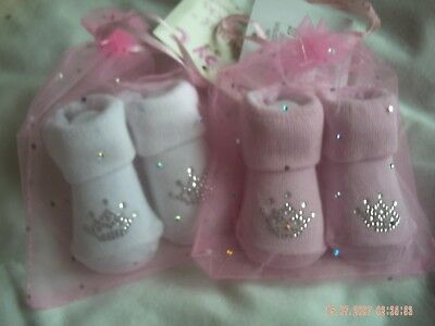 2xPairs Of Baby Girl's Socks 1xPink And 1xWhite Size 0-6 Months
