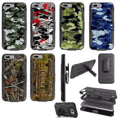 Camo Hunt Dual Layer Clip Holster Kickstand Hybrid Case for Samsung