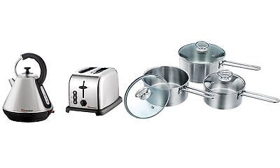 Set of Electric Kettle, Toaster & 3 Saucepans, Stainless Steel - Silver